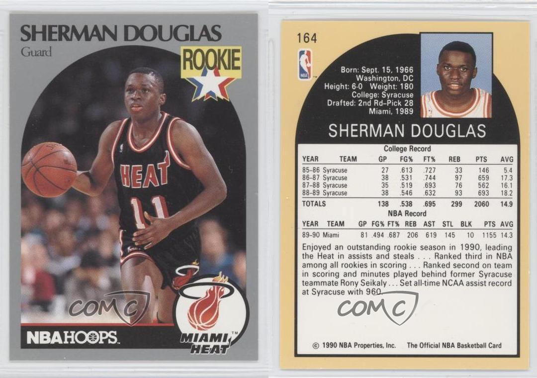 1990 91 Nba Hoops 164 Sherman Douglas Miami Heat Royal Crown