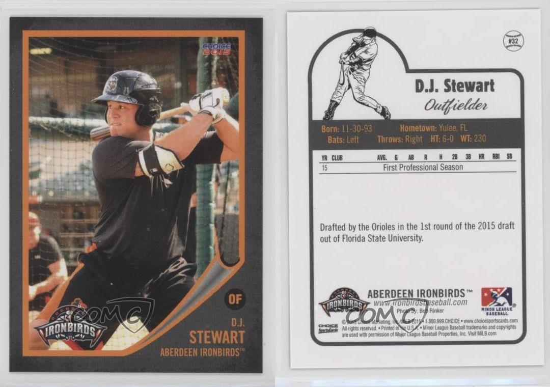 Details About 2015 Choice Aberdeen Ironbirds 32 Dj Stewart Ironbirds Dj Rookie Baseball Card