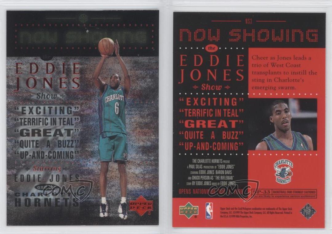 1999-00-Upper-Deck-Now-Showing-NS3-Eddie-Jones-Charlotte-Hornets-Basketball-Card