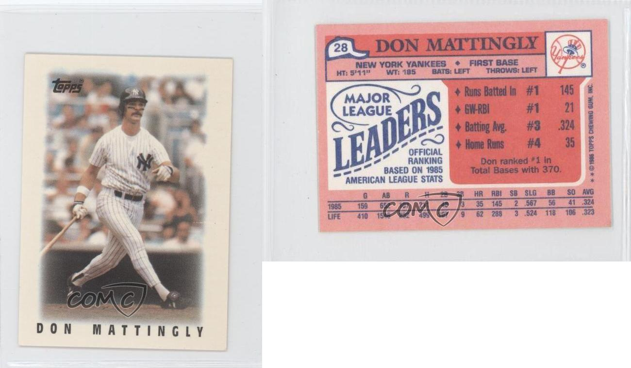 1986 Topps League Leader Minis 28 Don Mattingly New York