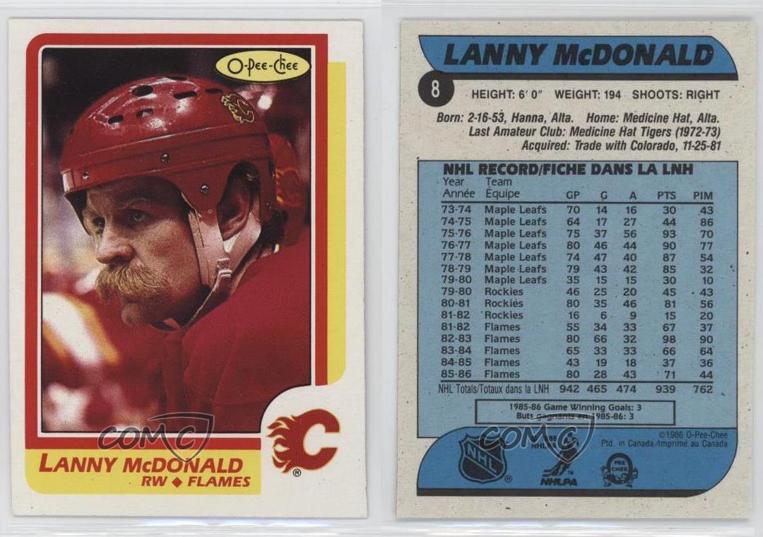 1986-87-O-Pee-Chee-8-Lanny-McDonald-Calgary-Flames-Hockey-Card thumbnail 3