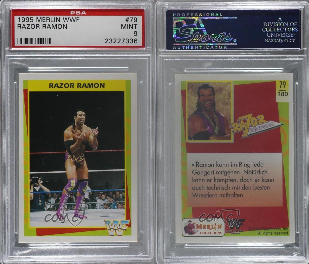 1995 Merlin WWF German #79 Razor Ramon PSA 9 MINT Rookie