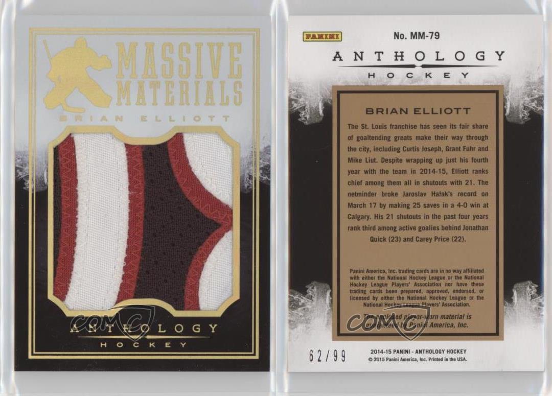 2015-16-Panini-Anthology-Massive-Materials-Prime-MM-79-Brian-Elliott-Hockey-Card