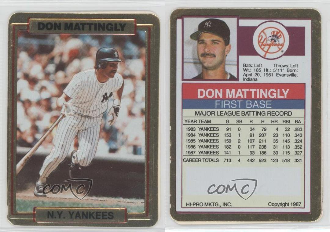1988 Action Packed Test Issue Doma Don Mattingly New York