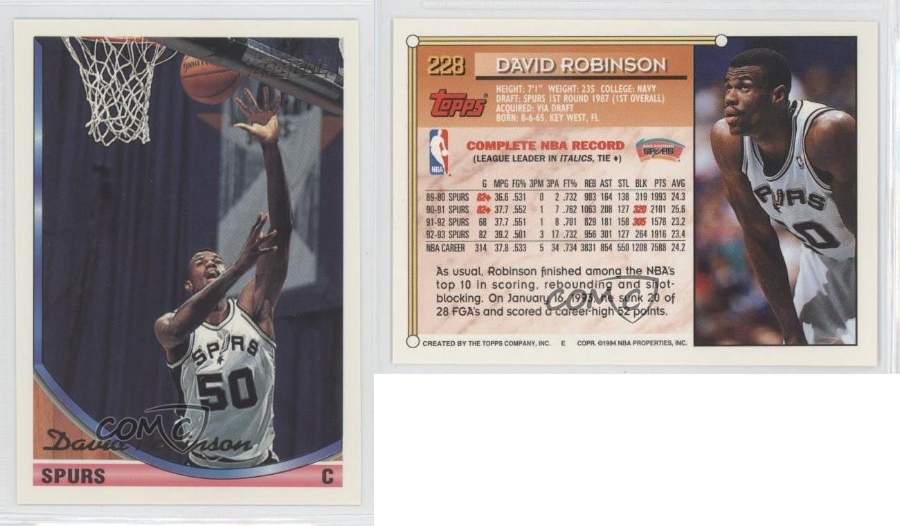 1992-93 Topps Gold #4 David Robinson San Antonio Spurs Baloncesto Tarjeta