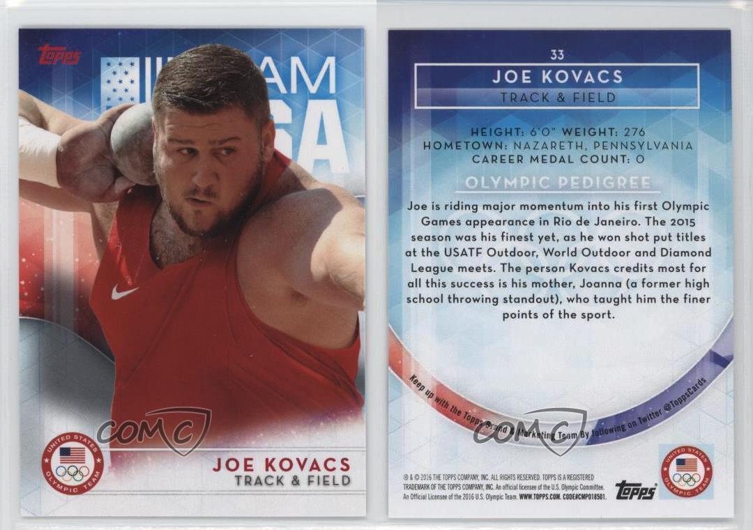 4 Card Lot 2016 Topps Olympic #33 Joe Kovacs Base,Bronze,Silver,Gold!!!