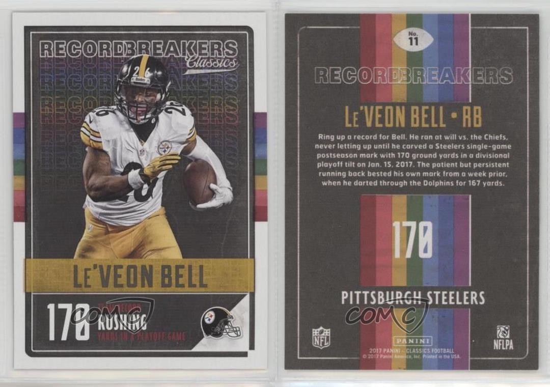 2017-Panini-Classics-Record-Breakers-11-Le-039-Veon-Bell-Pittsburgh-Steelers-Card
