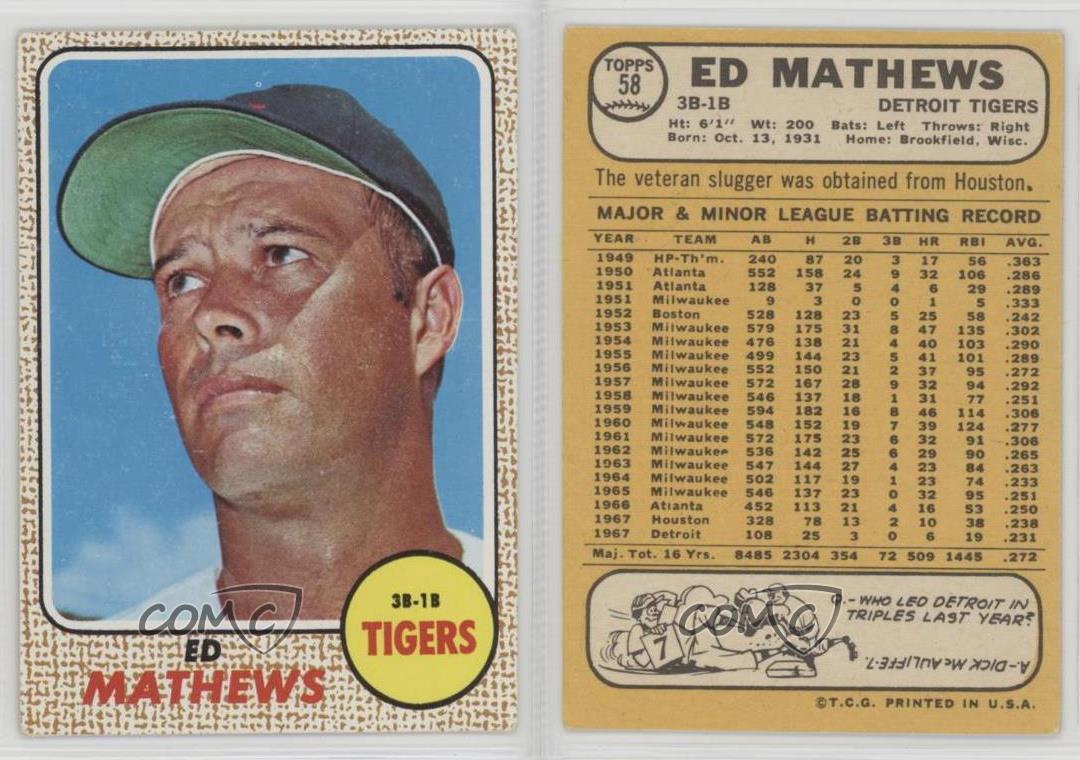 1968-Topps-58-Eddie-Mathews-Detroit-Tigers-Baseball-Card