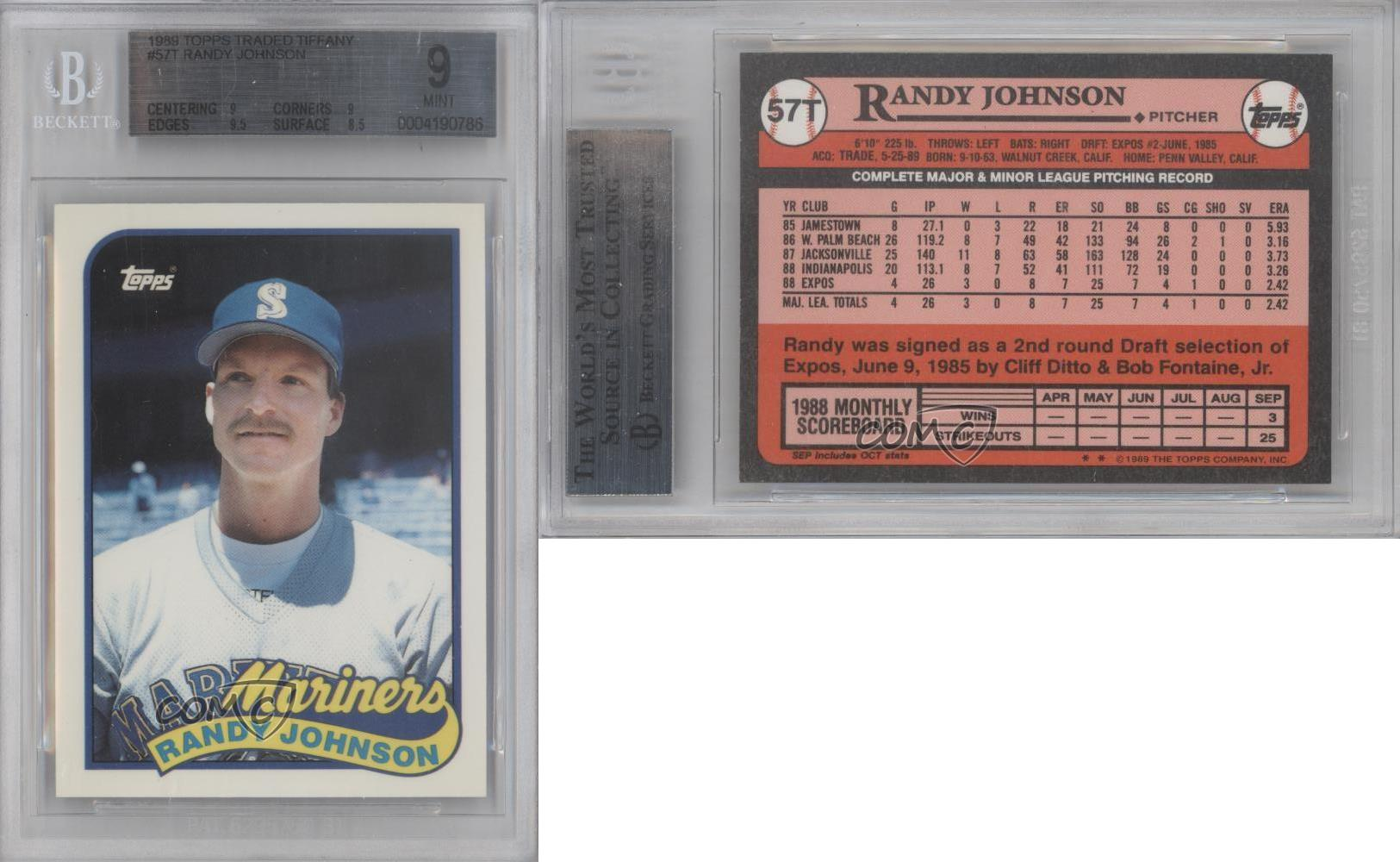1989 Topps Traded #57T Randy Johnson BGS 9 Seattle ...