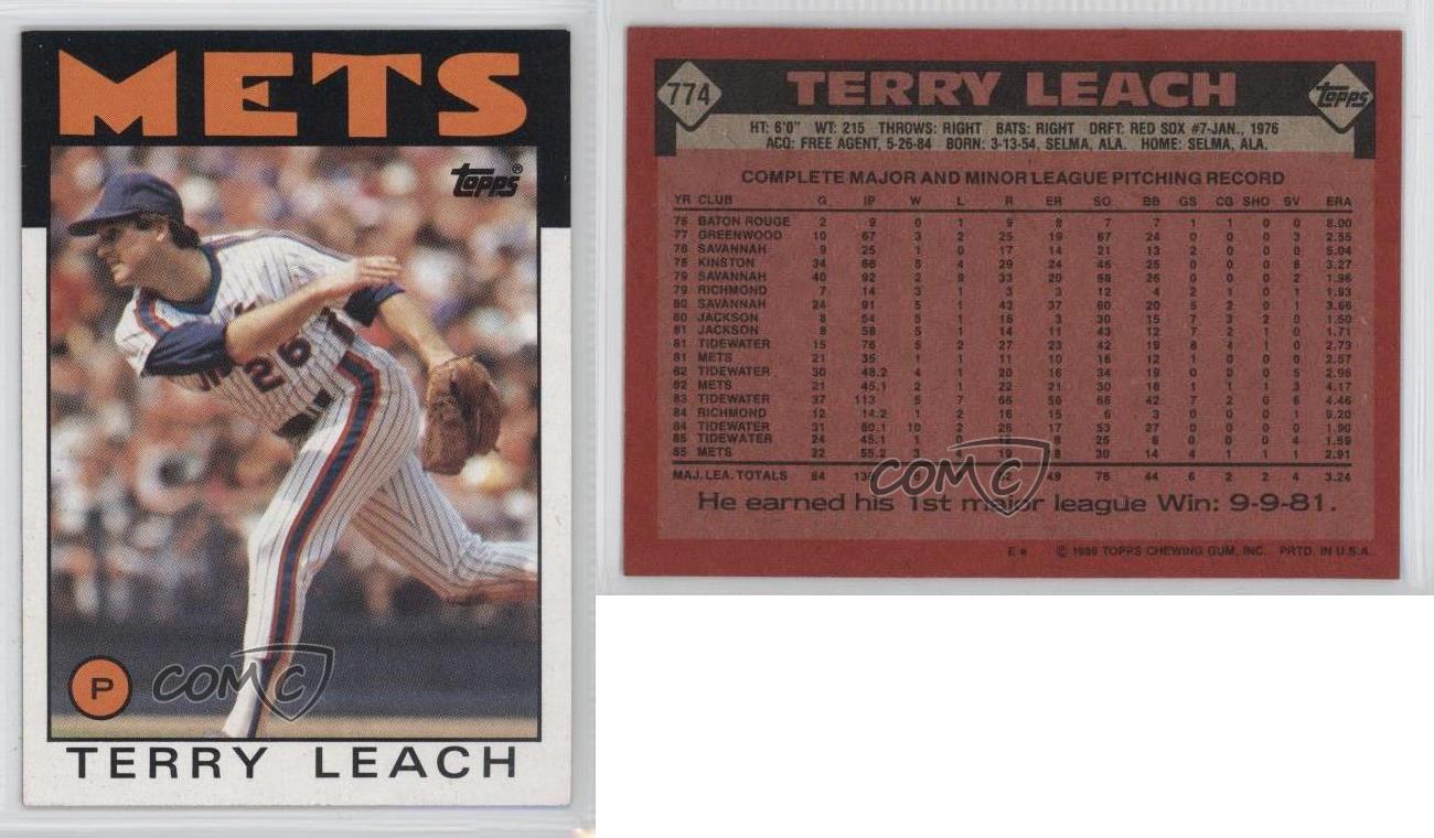1986 Topps #774 Terry Leach Near Mint//Mint