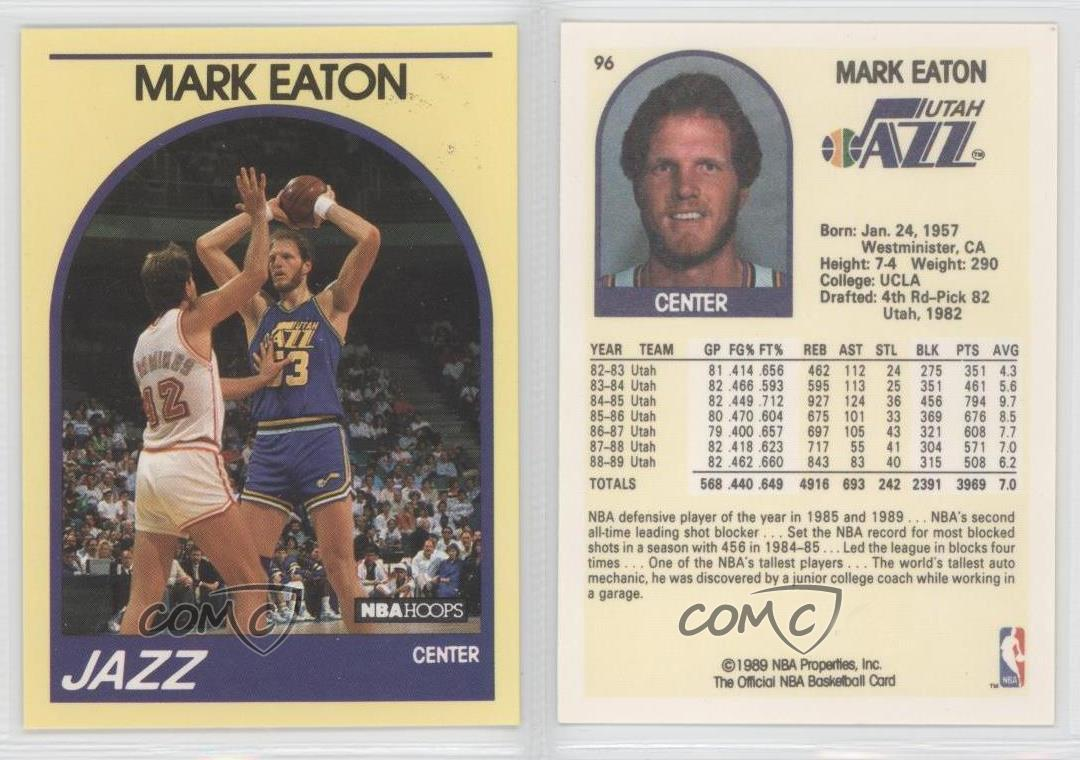 1989 Nba Hoops Superstars Box Set Base 96 Mark Eaton Utah