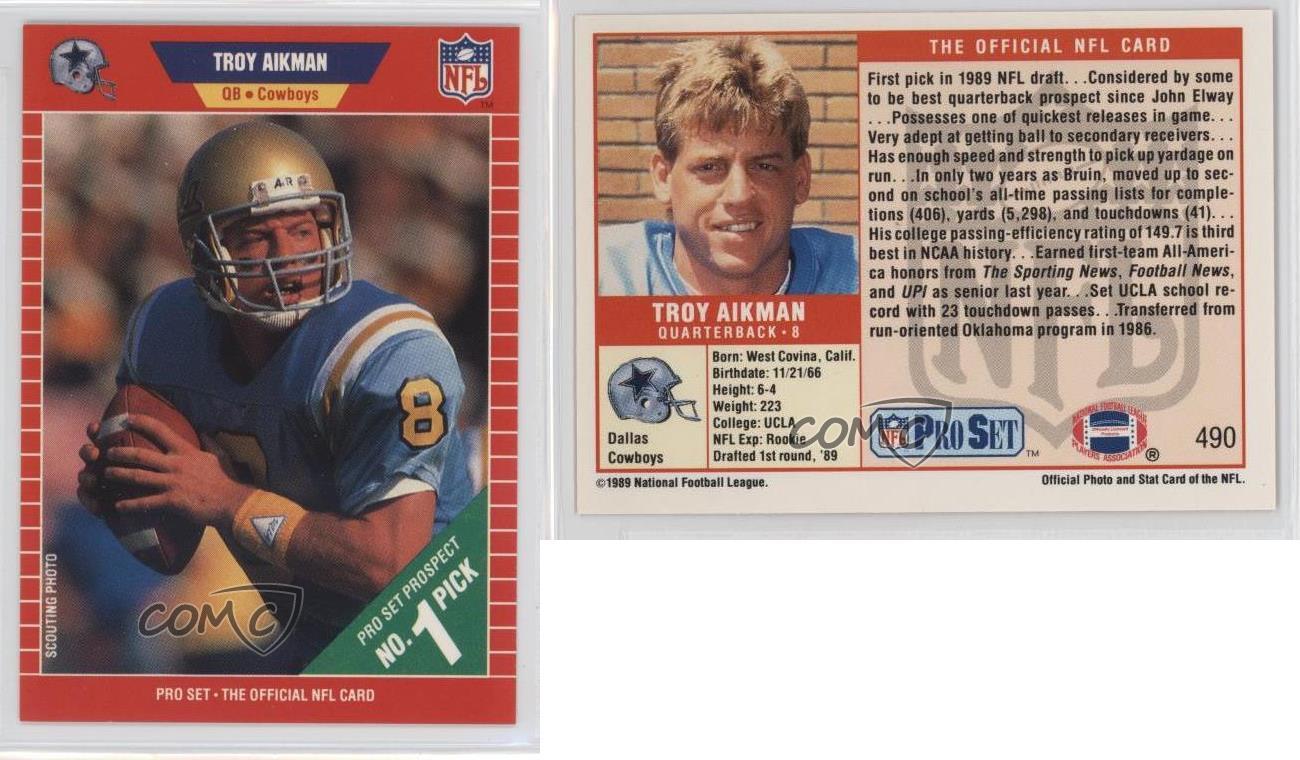 1989-Pro-Set-490-Troy-Aikman-Dallas-Cowboys-RC-Rookie-Football-Card
