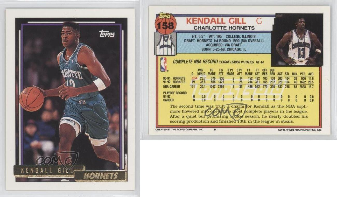 1992 93 Topps Gold 158 Kendall Gill Washington Bullets Charlotte