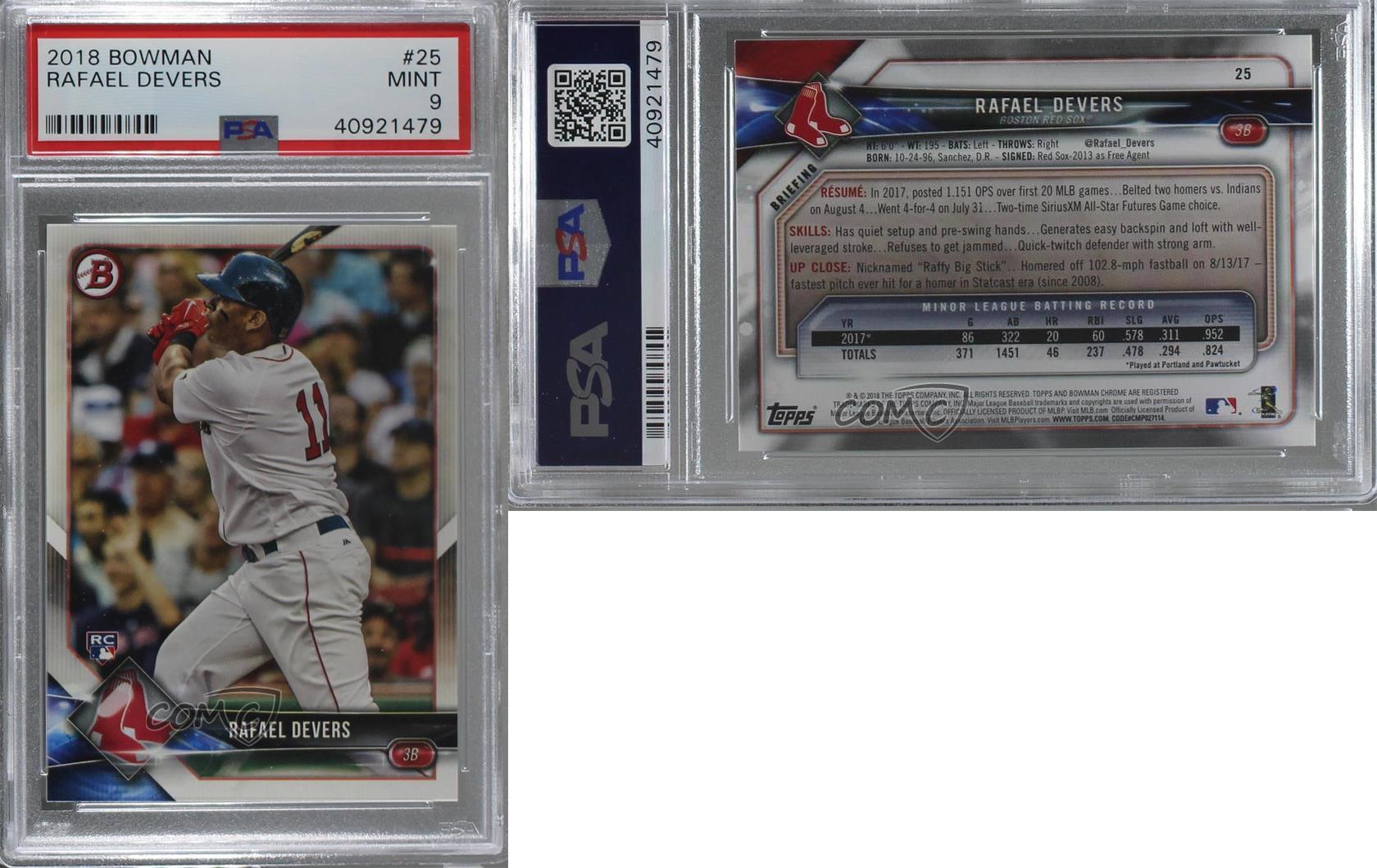 2018-Bowman-25-Rafael-Devers-PSA-9-MINT-Boston-Red-Sox-RC-Rookie-Baseball-Card