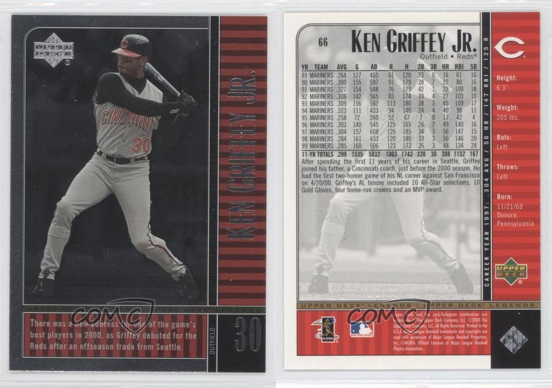 2000 Upper Deck Legends #66 Ken Griffey Jr Cincinnati Reds Baseball Card