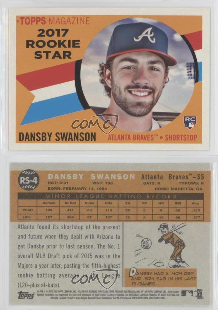 Details About 2017 Topps Archives 1960 Rookie Stars Rs 4 Dansby Swanson Atlanta Braves Card