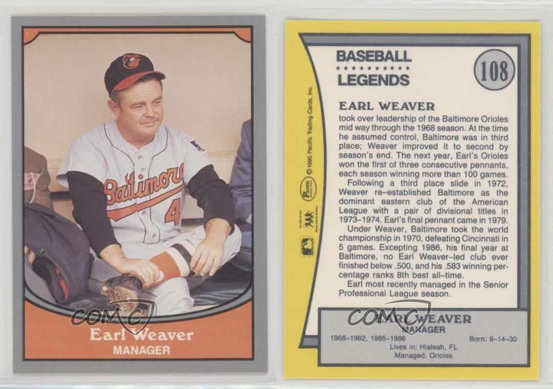 Details About 1990 Pacific Baseball Legends 108 Earl Weaver Baltimore Orioles Card