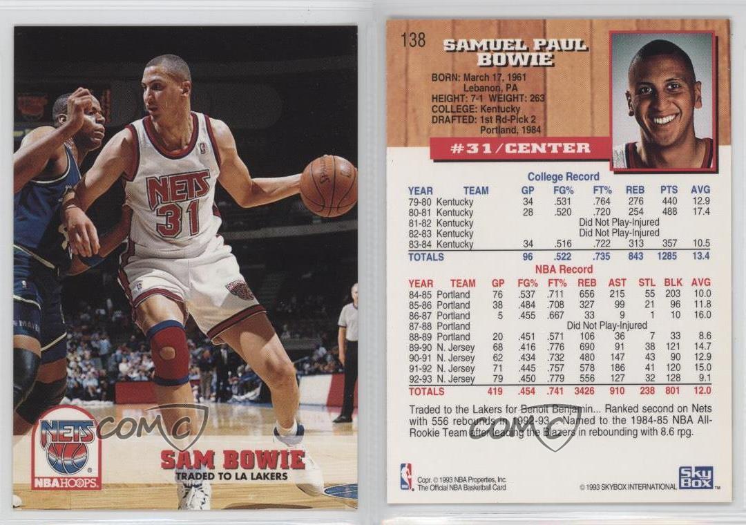 1993 94 Nba Hoops 138 Sam Bowie New Jersey Nets Baloncesto