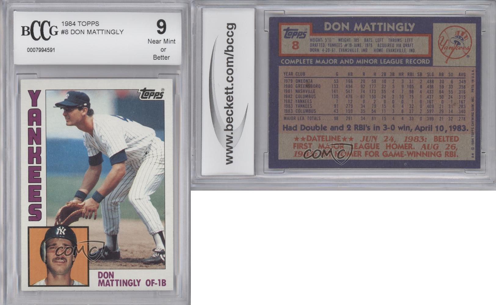 1984 Topps 8 Don Mattingly New York Yankees Rc Rookie