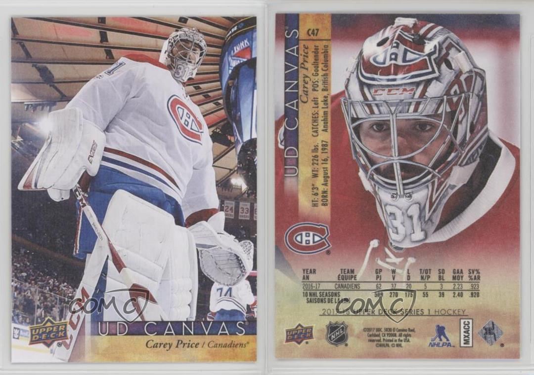 2017-18-Upper-Deck-UD-Canvas-C47-Carey-Price-Montreal-Canadiens-Hockey-Card