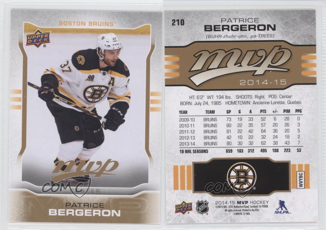 2014-15-Upper-Deck-MVP-210-Patrice-Bergeron-Boston-Bruins-Hockey-Card