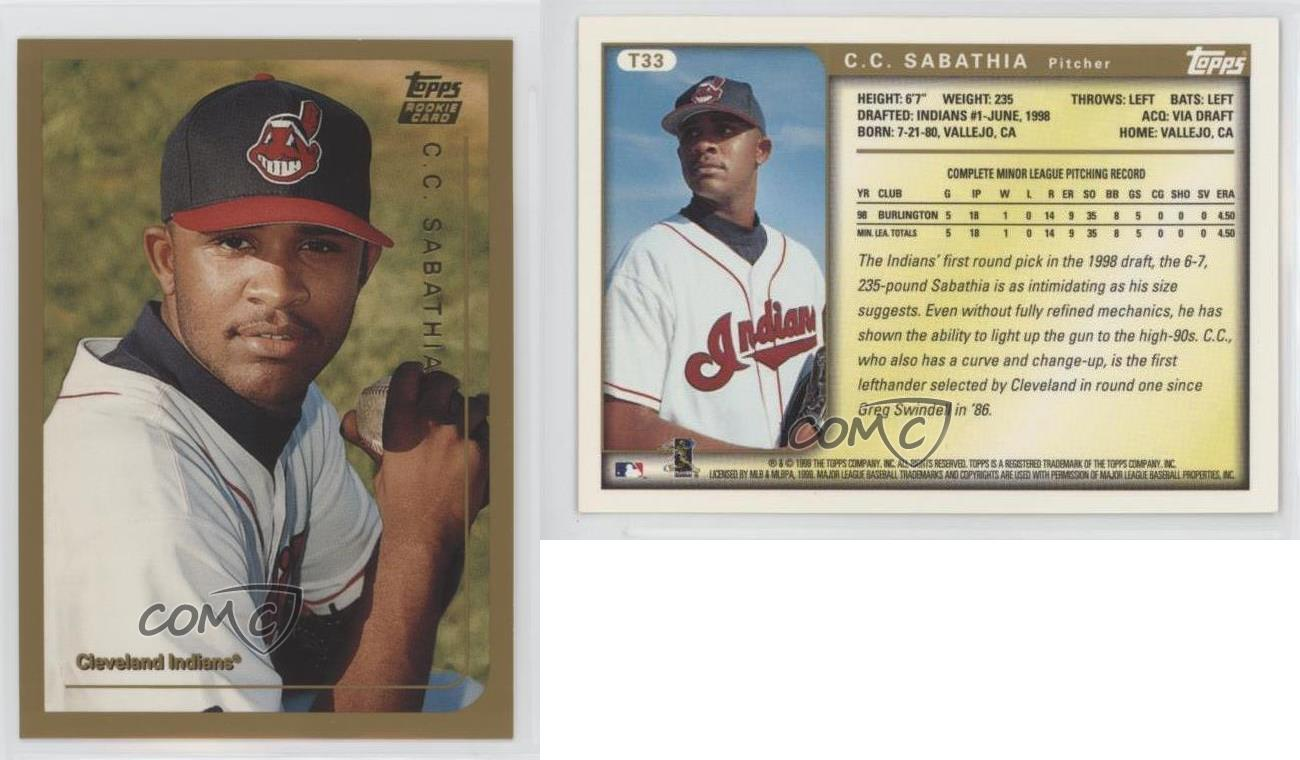 1999-Topps-Traded-T33-CC-Sabathia-Cleveland-Indians-RC-Rookie-Baseball-Card