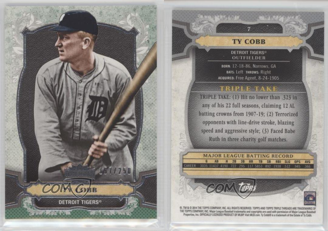 2014-Topps-Triple-Threads-Emerald-7-Ty-Cobb-Detroit-Tigers-Baseball-Card