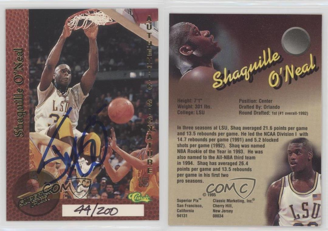 1995-Classic-Superior-Pix-Autographs-SHON-Shaquille-O-039-Neal-Auto-Basketball-Card