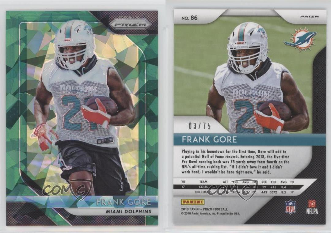 2018-Panini-Prizm-Green-Cystals-86-Frank-Gore-Miami-Dolphins-Football-Card