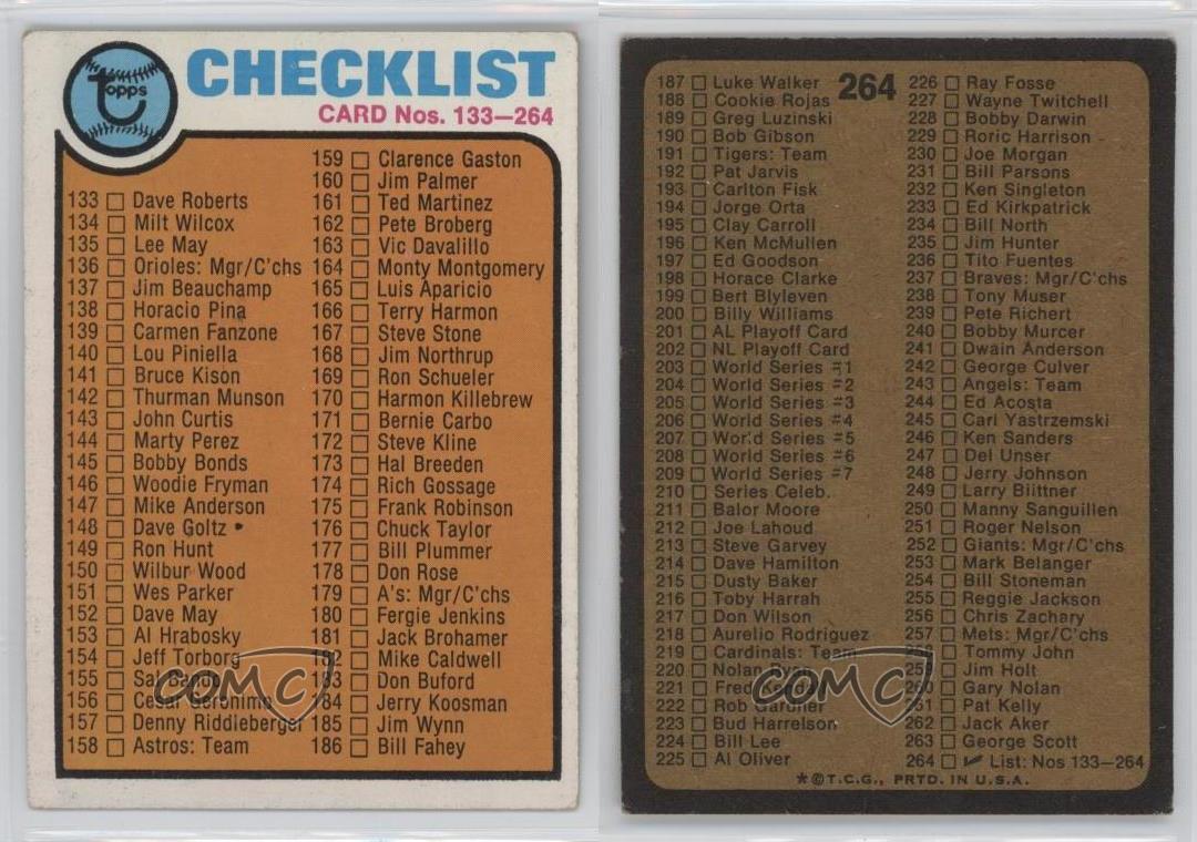 1973 Topps #264 Checklist Baseball Card | eBay
