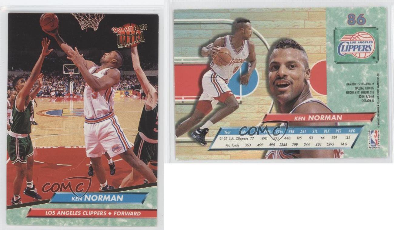 1992 93 Fleer Ultra 86 Ken Norman Tarjeta de baloncesto de Los