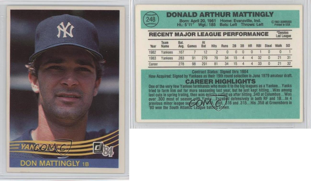 1984 Donruss 248 Don Mattingly New York Yankees Rc Rookie