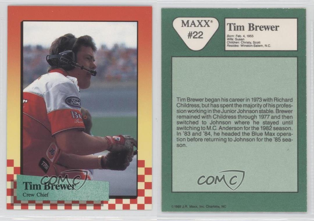 1989 Maxx Racing #22 Tim Brewer Rookie Card | eBay