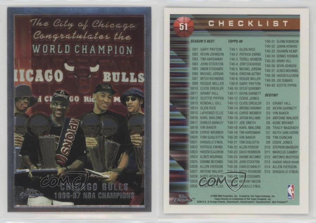 1997-98-Topps-Chrome-51-Chicago-Bulls-1996-97-NBA-Champions-Team-Basketball-Card