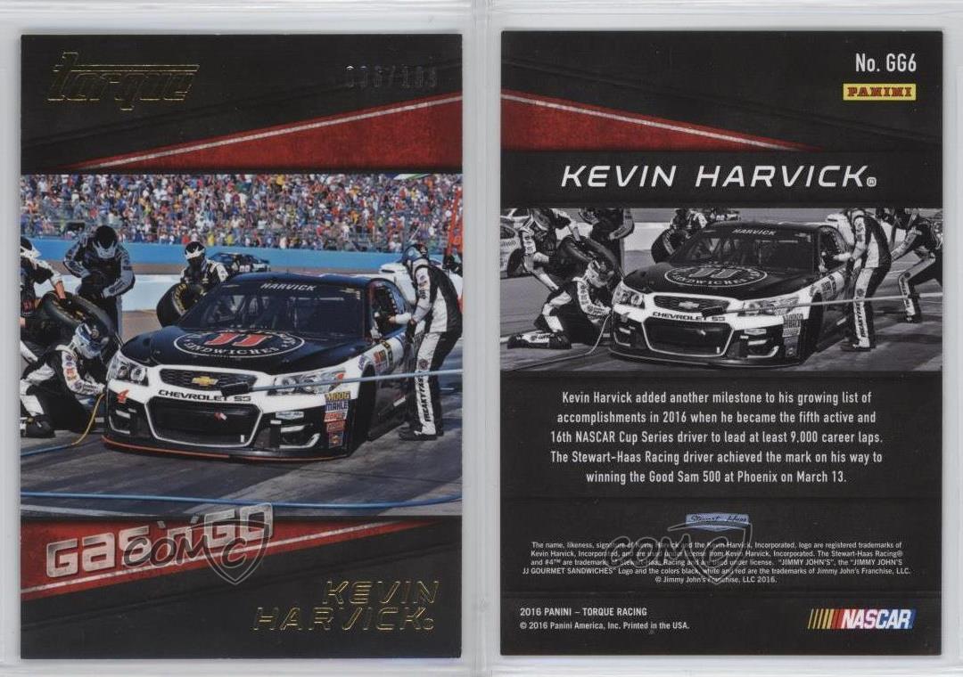 2016 Panini Torque Shades Gold//199 #S1 Kevin Harvick Racing Card