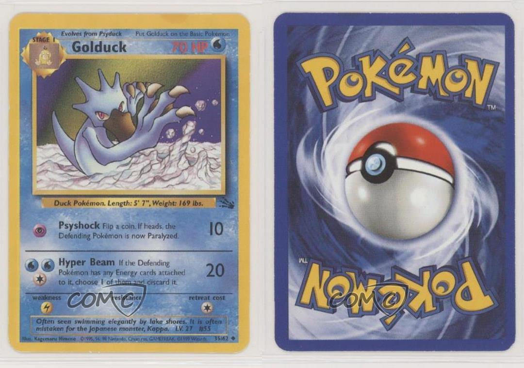 GOLDUCK 35//62 Vintage ENGLISH Fossil Series ©1999 Unlimited NEAR MINT Card