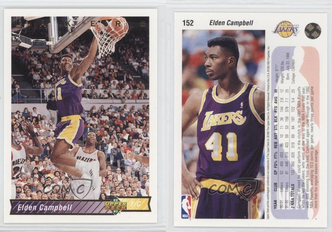 1992 93 Upper Deck 152 Elden Campbell Los Angeles Lakers