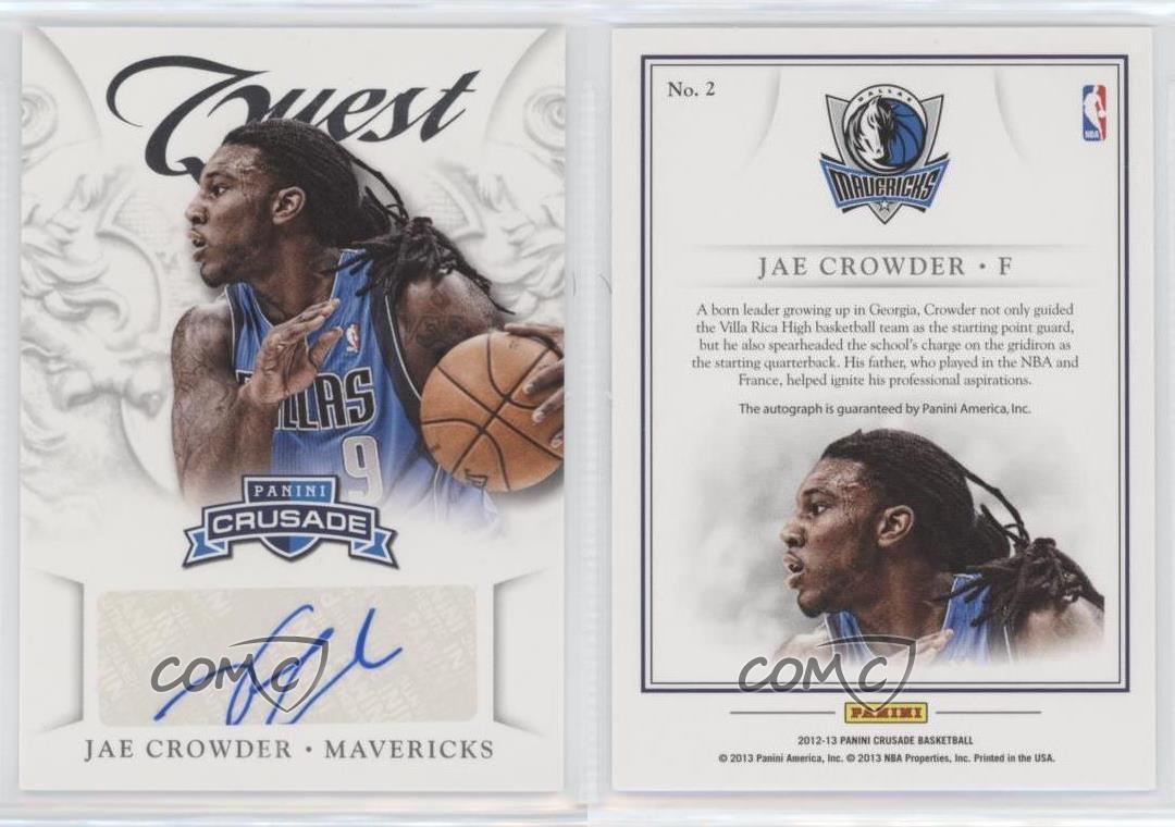 2012-13-Panini-Crusade-Quest-Autographs-2-Jae-Crowder-Dallas-Mavericks-Auto-Card