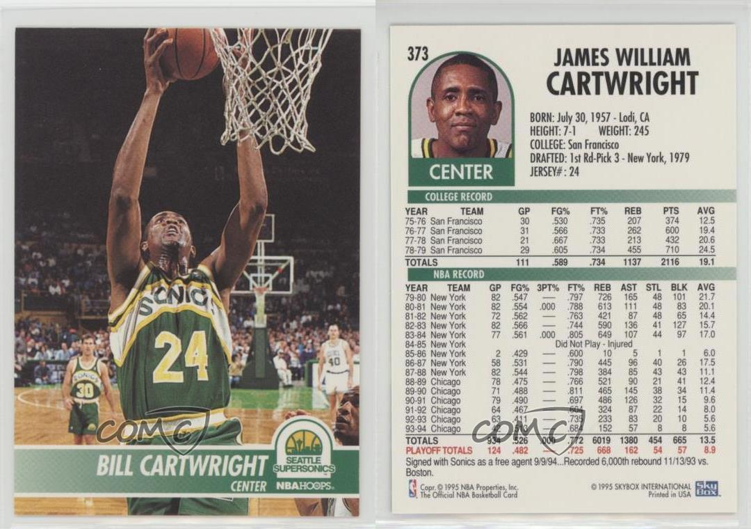 1994 95 NBA Hoops 373 Bill Cartwright Seattle Supersonics