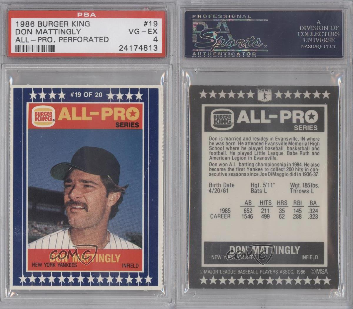 1986 Burger King All Pro 19 Don Mattingly Psa 4 New York