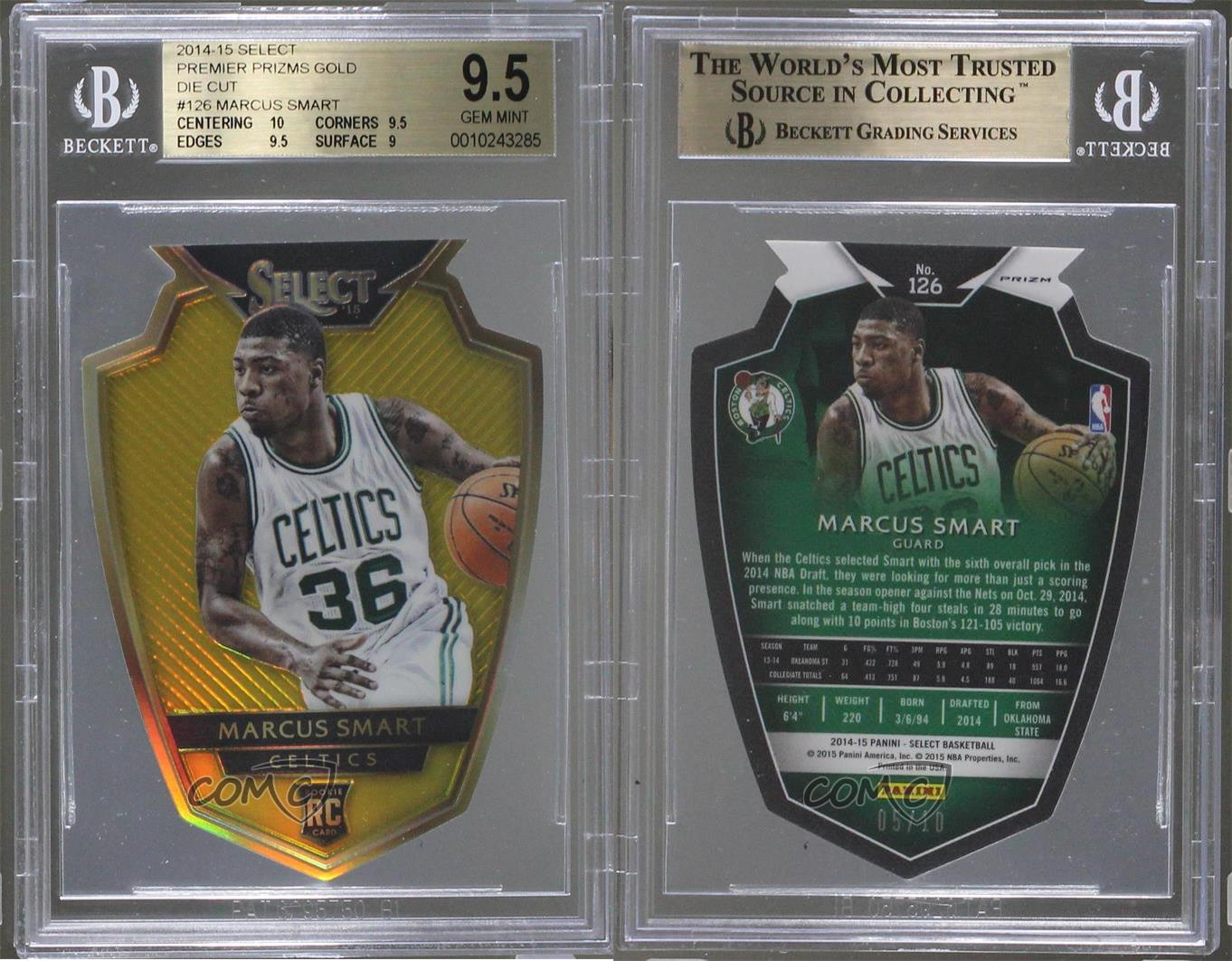 2014-Panini-Select-Gold-Prizm-126-Marcus-Smart-BGS-9-5-GEM-MINT-Boston-Celtics