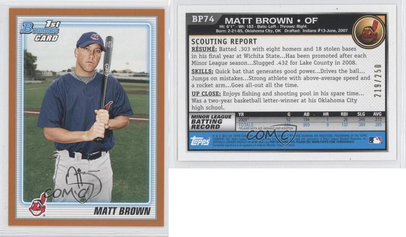 Matt Brown Cleveland Indians 2010 Bowman Baseball