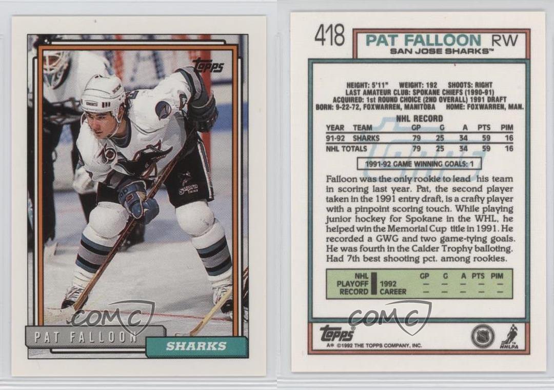 1992 93 Topps 418 Pat Falloon San Jose