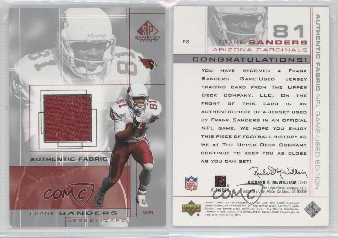 2001-SP-Game-Used-Edition-Authentic-Fabric-FS-Frank-Sanders-Arizona-Cardinals