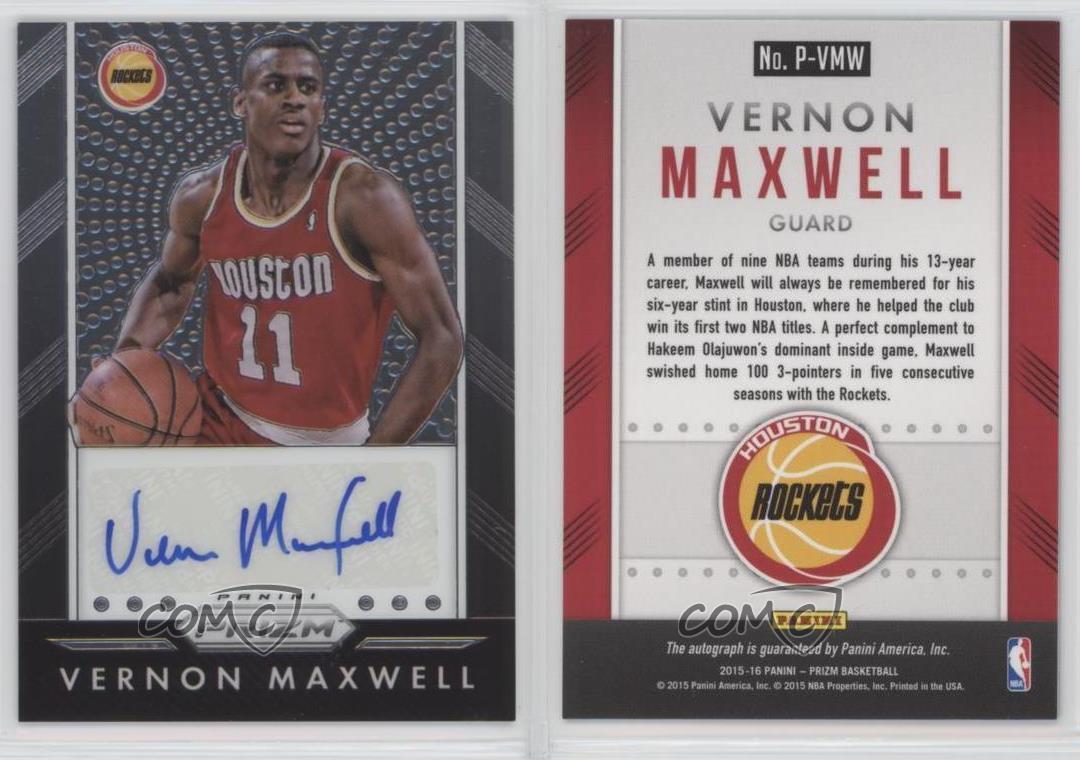2015 16 Panini Prizm Autographs P VMW Vernon Maxwell Houston
