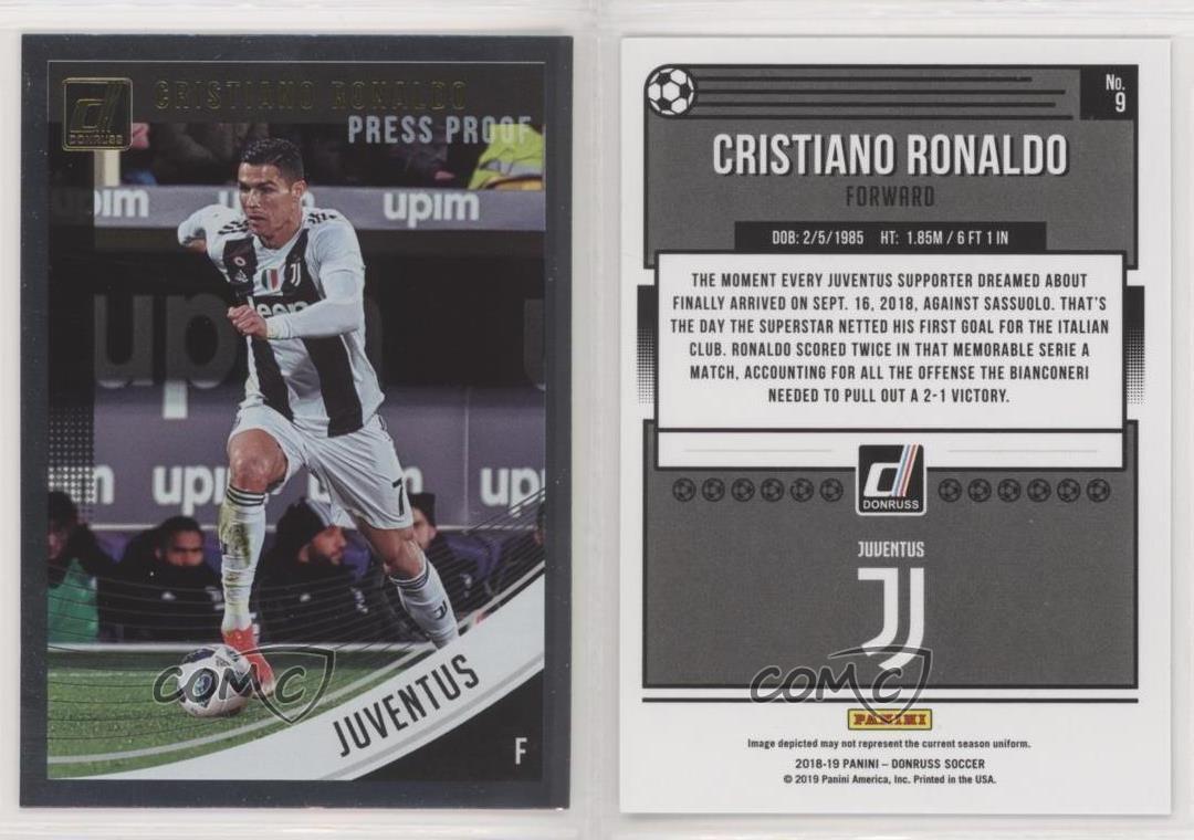 2018-19 Donruss Press Proof Silver #9 Cristiano Ronaldo Juventus Soccer Card