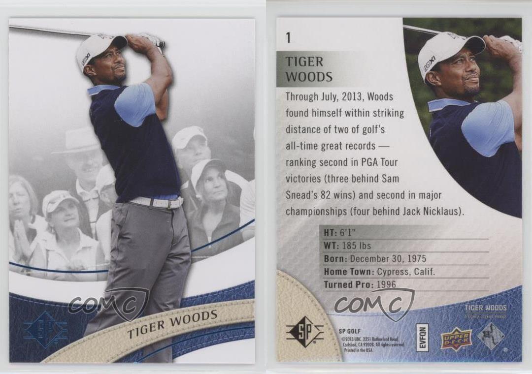 2014 SP Authentic Retail Sapphire Foil #1 Tiger Woods Golf Card   eBay