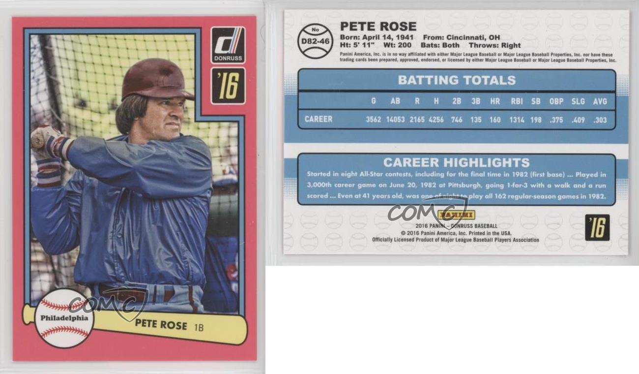 Pete Rose 2016 PANINI DONRUSS BASEBALL CARD!!! 1982 Design