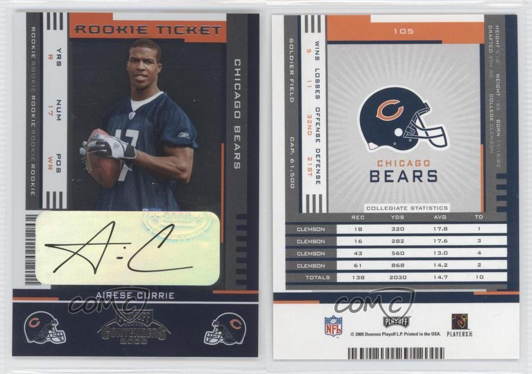 2005-Playoff-Contenders-105-Rookie-Ticket-Airese-Currie-Chicago-Bears-Auto-Card