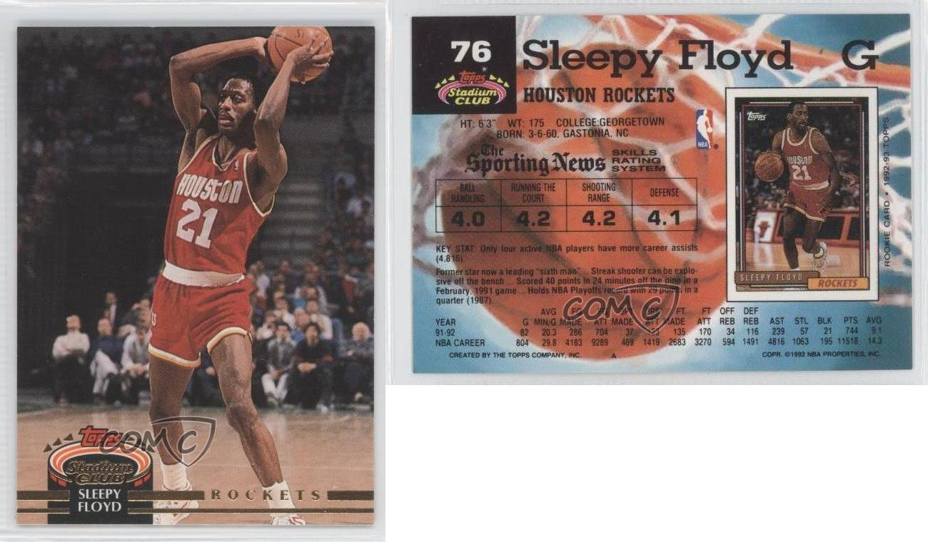 1992 93 Topps Stadium Club 76 Sleepy Floyd Houston Rockets